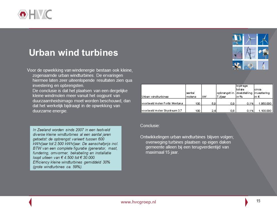 15 Urban wind turbines Voor de opwekking van windenergie bestaan ook kleine, zogenaamde urban windturbines.