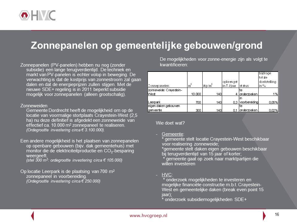 16 Zonnepanelen op gemeentelijke gebouwen/grond Zonnepanelen (PV-panelen) hebben nu nog (zonder subsidie) een lange terugverdientijd. De techniek en m