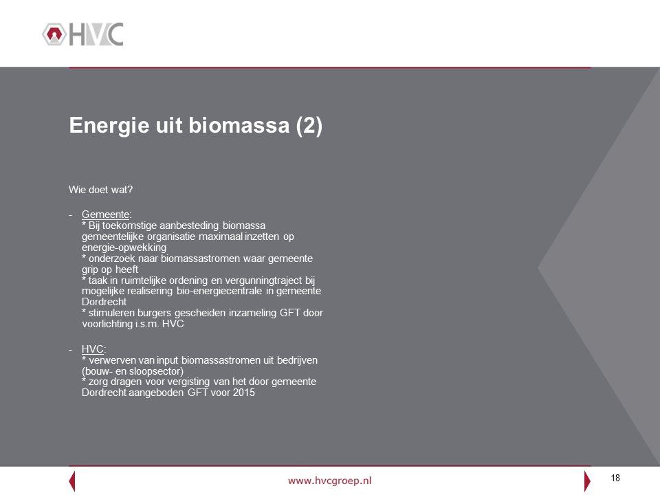 18 Energie uit biomassa (2) Wie doet wat.