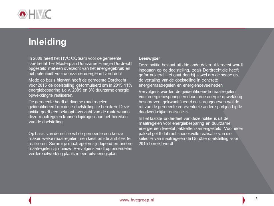 3 Inleiding In 2009 heeft het HVC CQteam voor de gemeente Dordrecht het Masterplan Duurzame Energie Dordrecht opgesteld met een overzicht van het energiegebruik en het potentieel voor duurzame energie in Dordrecht.