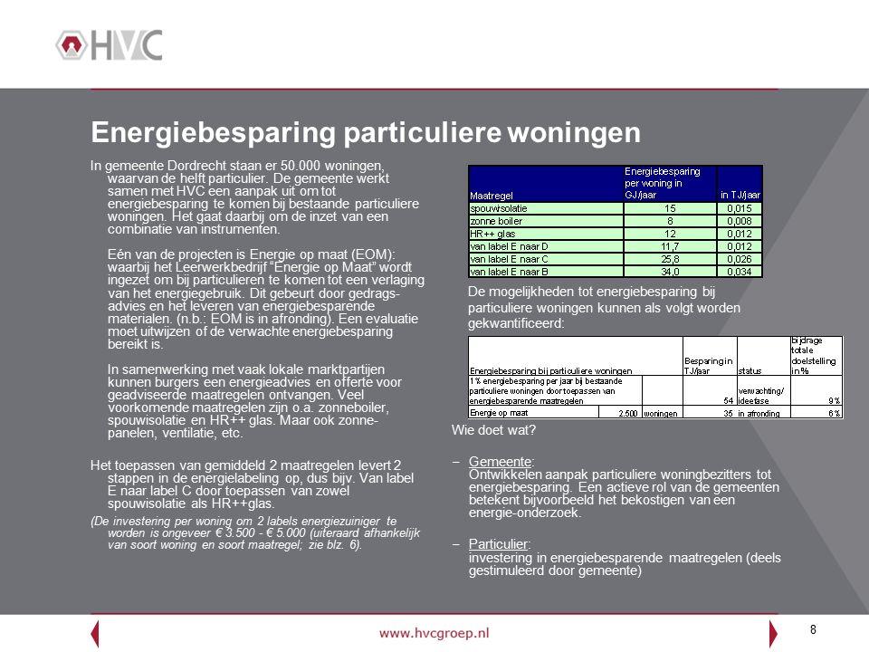 8 Energiebesparing particuliere woningen In gemeente Dordrecht staan er 50.000 woningen, waarvan de helft particulier. De gemeente werkt samen met HVC