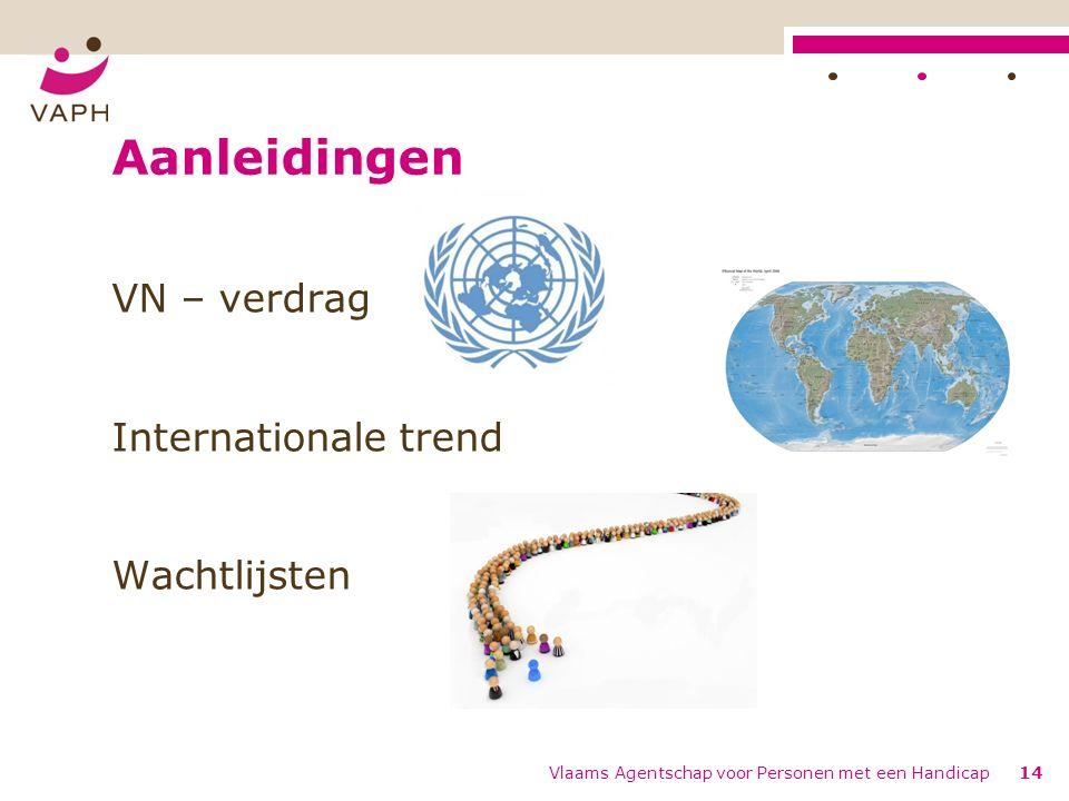 Aanleidingen VN – verdrag Internationale trend Wachtlijsten Vlaams Agentschap voor Personen met een Handicap14