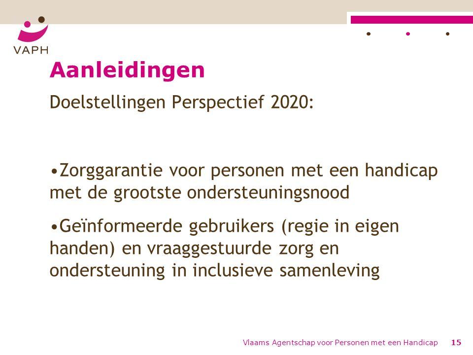 Aanleidingen Doelstellingen Perspectief 2020: Zorggarantie voor personen met een handicap met de grootste ondersteuningsnood Geïnformeerde gebruikers (regie in eigen handen) en vraaggestuurde zorg en ondersteuning in inclusieve samenleving Vlaams Agentschap voor Personen met een Handicap15