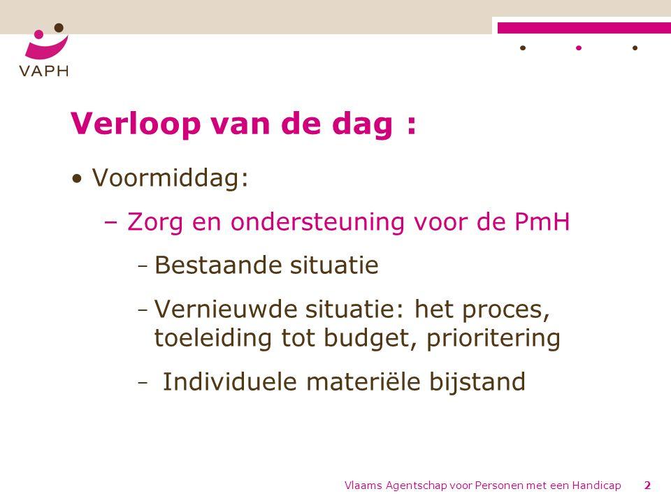 Verloop van de dag Namiddag: – Budgetberekening en ondersteuningsfuncties – ZZI: de schalen en werkwijze, interpretatie van resultaten Vlaams Agentschap voor Personen met een Handicap3
