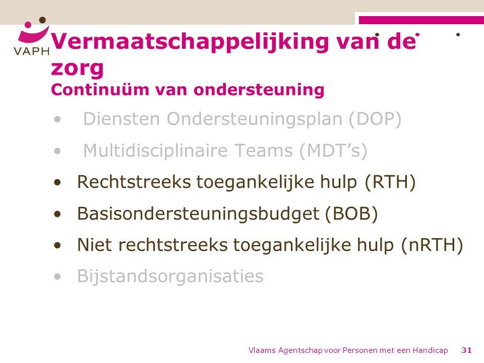 Vermaatschappelijking van de zorg Continuüm van ondersteuning Diensten Ondersteuningsplan (DOP) Multidisciplinaire Teams (MDT's) Rechtstreeks toegankelijke hulp (RTH) Basisondersteuningsbudget (BOB) Niet rechtstreeks toegankelijke hulp (nRTH) Bijstandsorganisaties Vlaams Agentschap voor Personen met een Handicap31