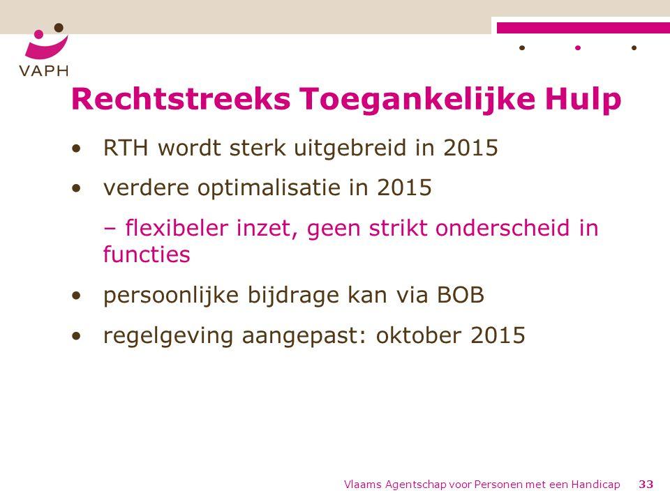 Rechtstreeks Toegankelijke Hulp RTH wordt sterk uitgebreid in 2015 verdere optimalisatie in 2015 – flexibeler inzet, geen strikt onderscheid in functies persoonlijke bijdrage kan via BOB regelgeving aangepast: oktober 2015 Vlaams Agentschap voor Personen met een Handicap33