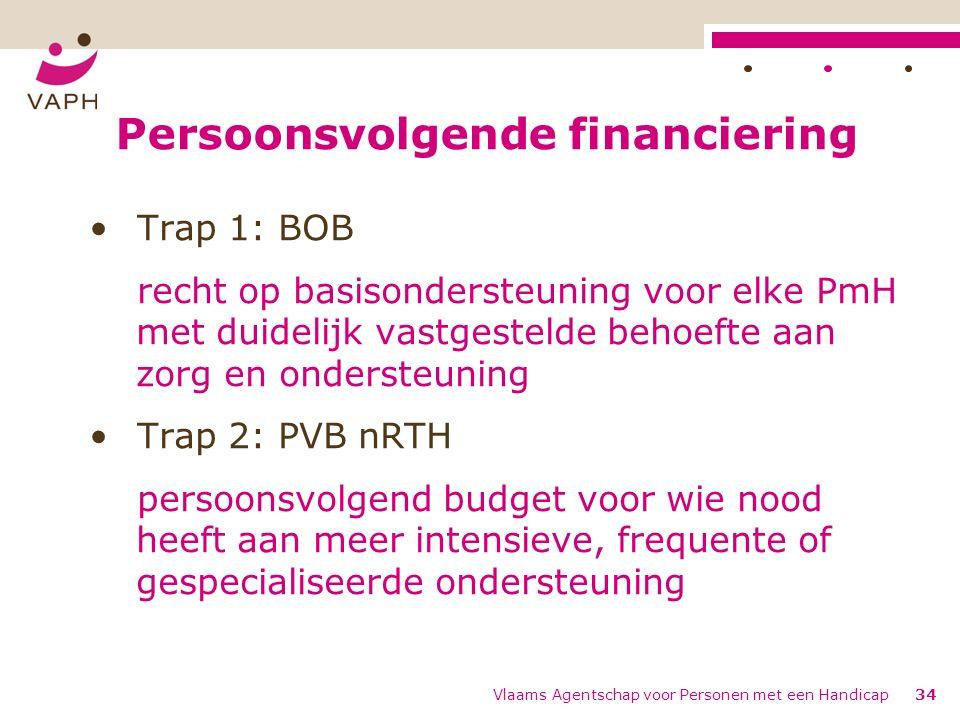 Persoonsvolgende financiering Trap 1: BOB recht op basisondersteuning voor elke PmH met duidelijk vastgestelde behoefte aan zorg en ondersteuning Trap 2: PVB nRTH persoonsvolgend budget voor wie nood heeft aan meer intensieve, frequente of gespecialiseerde ondersteuning Vlaams Agentschap voor Personen met een Handicap34