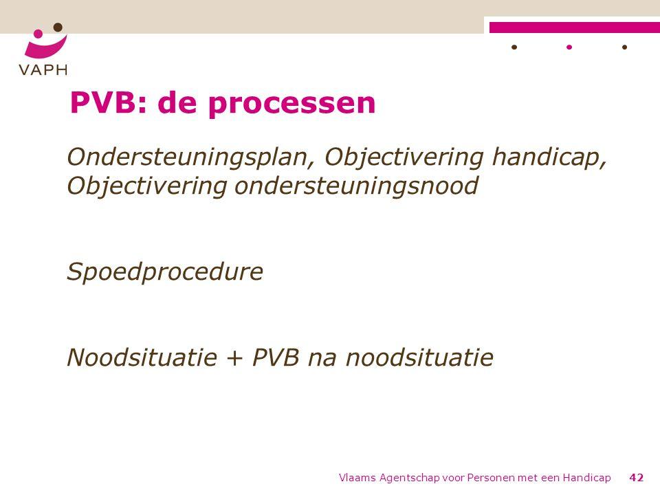 PVB: de processen Ondersteuningsplan, Objectivering handicap, Objectivering ondersteuningsnood Spoedprocedure Noodsituatie + PVB na noodsituatie Vlaams Agentschap voor Personen met een Handicap42