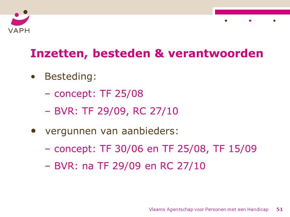 Inzetten, besteden & verantwoorden Besteding: – concept: TF 25/08 – BVR: TF 29/09, RC 27/10 vergunnen van aanbieders: – concept: TF 30/06 en TF 25/08, TF 15/09 – BVR: na TF 29/09 en RC 27/10 Vlaams Agentschap voor Personen met een Handicap51
