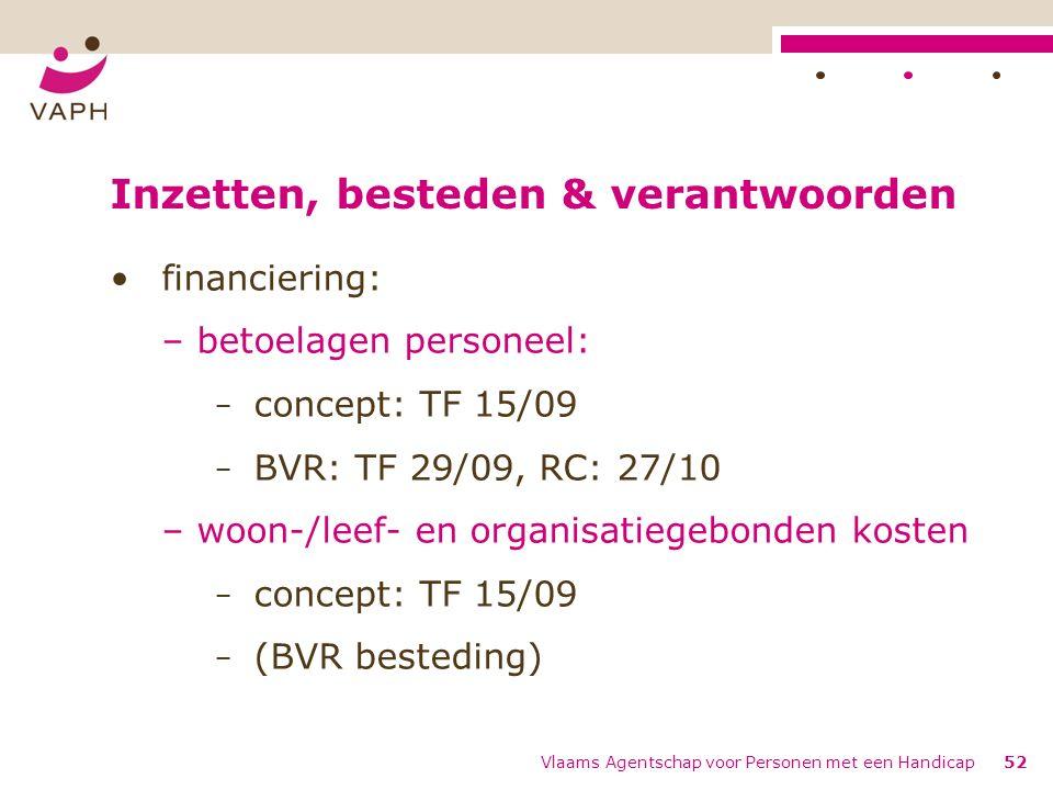 Inzetten, besteden & verantwoorden financiering: – betoelagen personeel: − concept: TF 15/09 − BVR: TF 29/09, RC: 27/10 – woon-/leef- en organisatiegebonden kosten − concept: TF 15/09 − (BVR besteding) Vlaams Agentschap voor Personen met een Handicap52