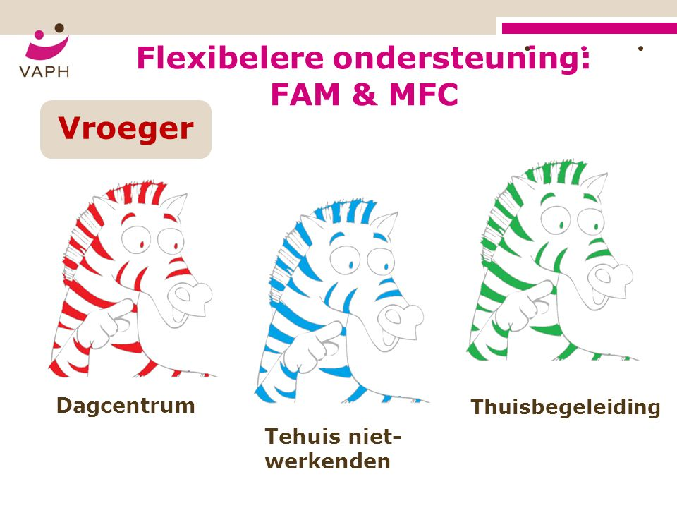 Tehuis niet- werkenden Dagcentrum Thuisbegeleiding Flexibelere ondersteuning: FAM & MFC Vroeger