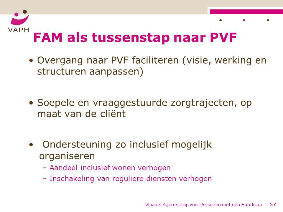 FAM als tussenstap naar PVF Overgang naar PVF faciliteren (visie, werking en structuren aanpassen) Soepele en vraaggestuurde zorgtrajecten, op maat van de cliënt Ondersteuning zo inclusief mogelijk organiseren – Aandeel inclusief wonen verhogen – Inschakeling van reguliere diensten verhogen Vlaams Agentschap voor Personen met een Handicap57