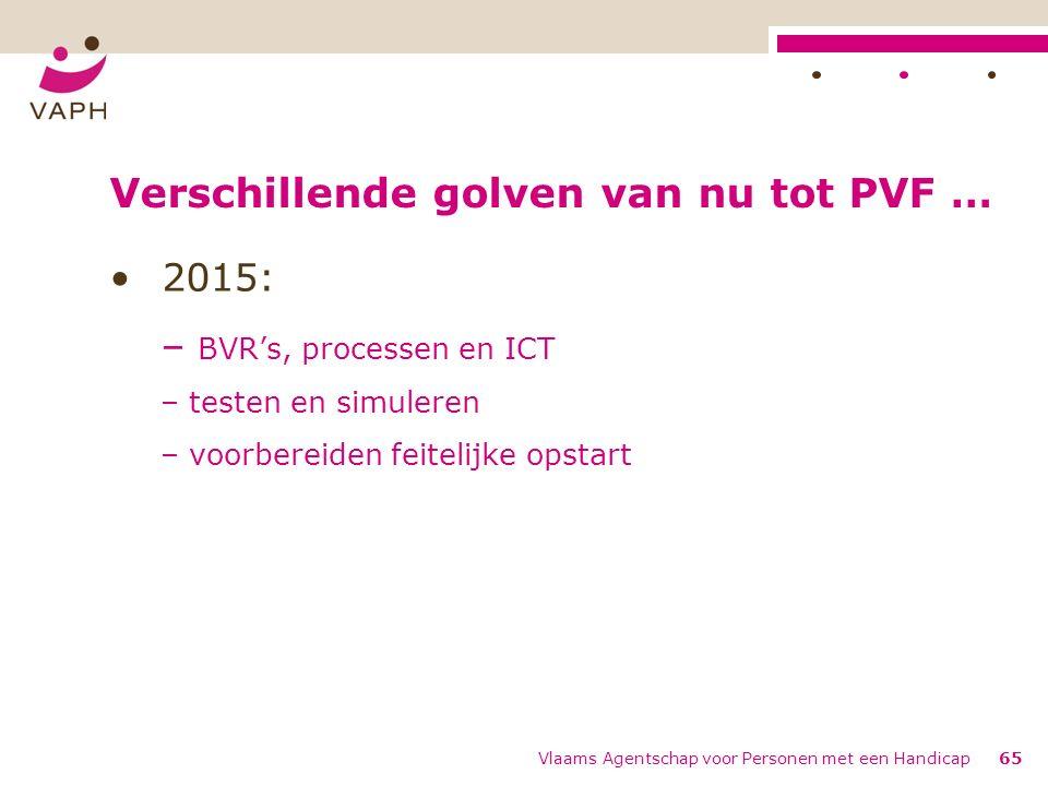 Verschillende golven van nu tot PVF … 2015: – BVR's, processen en ICT – testen en simuleren – voorbereiden feitelijke opstart Vlaams Agentschap voor Personen met een Handicap65