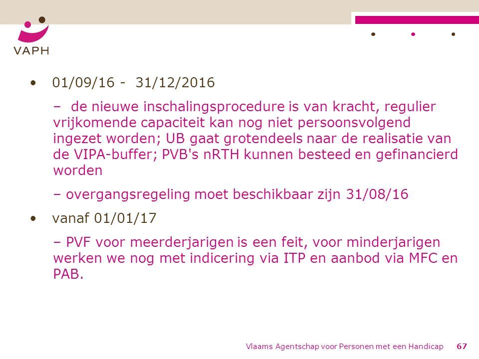 01/09/16 - 31/12/2016 – de nieuwe inschalingsprocedure is van kracht, regulier vrijkomende capaciteit kan nog niet persoonsvolgend ingezet worden; UB gaat grotendeels naar de realisatie van de VIPA-buffer; PVB s nRTH kunnen besteed en gefinancierd worden – overgangsregeling moet beschikbaar zijn 31/08/16 vanaf 01/01/17 – PVF voor meerderjarigen is een feit, voor minderjarigen werken we nog met indicering via ITP en aanbod via MFC en PAB.