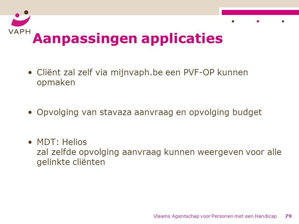 Aanpassingen applicaties Cliënt zal zelf via mijnvaph.be een PVF-OP kunnen opmaken Opvolging van stavaza aanvraag en opvolging budget MDT: Helios zal zelfde opvolging aanvraag kunnen weergeven voor alle gelinkte cliënten Vlaams Agentschap voor Personen met een Handicap79
