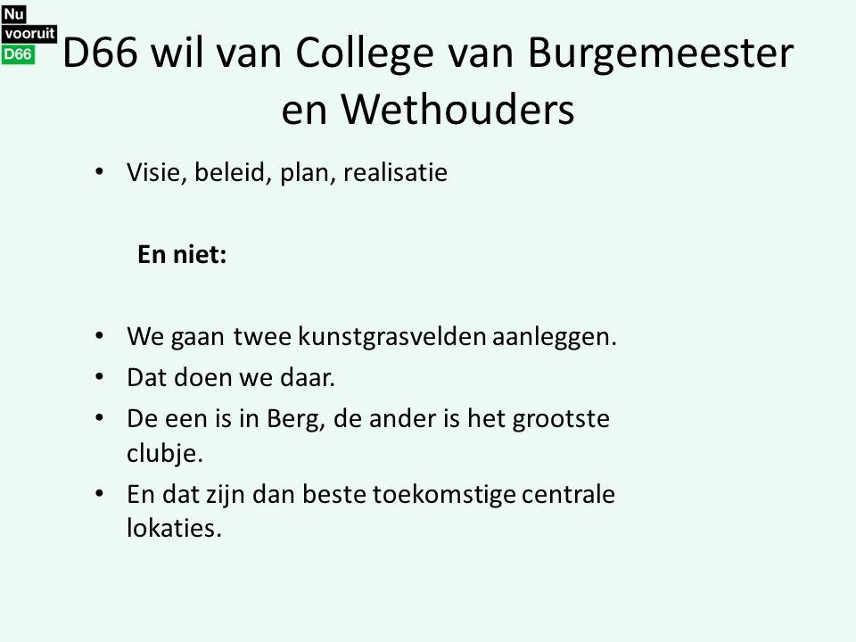 D66 wil van College van Burgemeester en Wethouders Visie, beleid, plan, realisatie En niet: We gaan twee kunstgrasvelden aanleggen. Dat doen we daar.