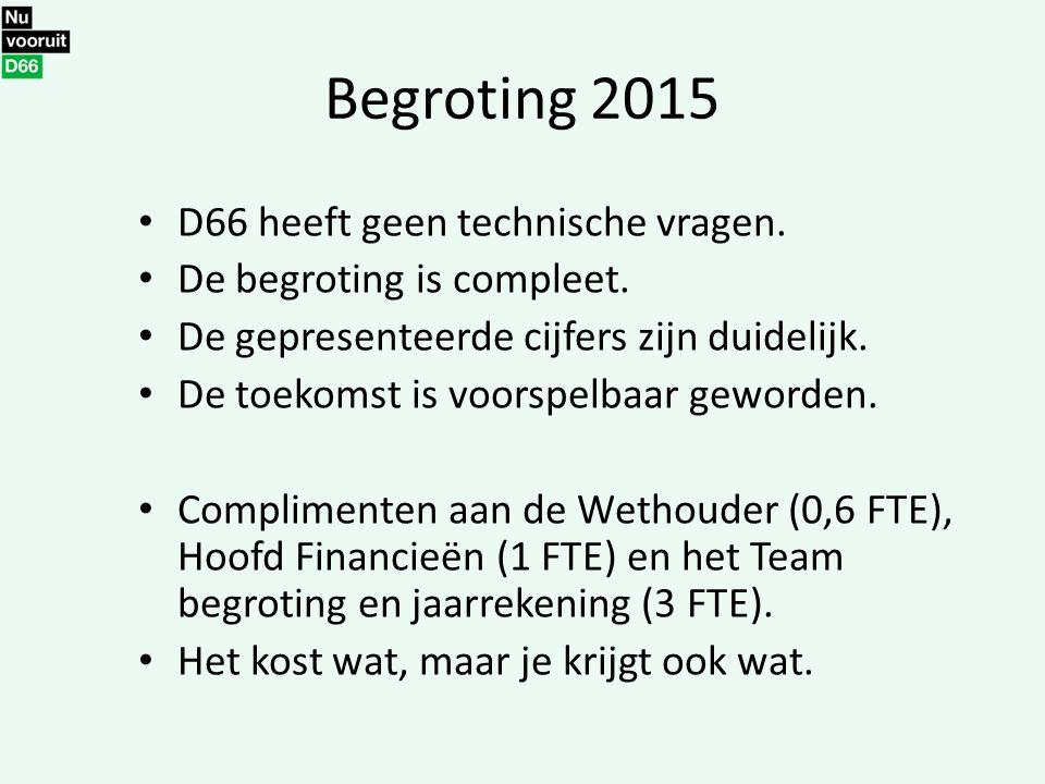 Begroting 2015 D66 heeft geen technische vragen. De begroting is compleet. De gepresenteerde cijfers zijn duidelijk. De toekomst is voorspelbaar gewor