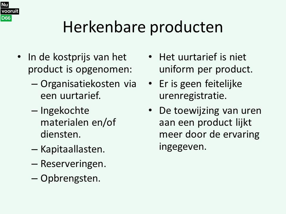 Herkenbare producten In de kostprijs van het product is opgenomen: – Organisatiekosten via een uurtarief. – Ingekochte materialen en/of diensten. – Ka