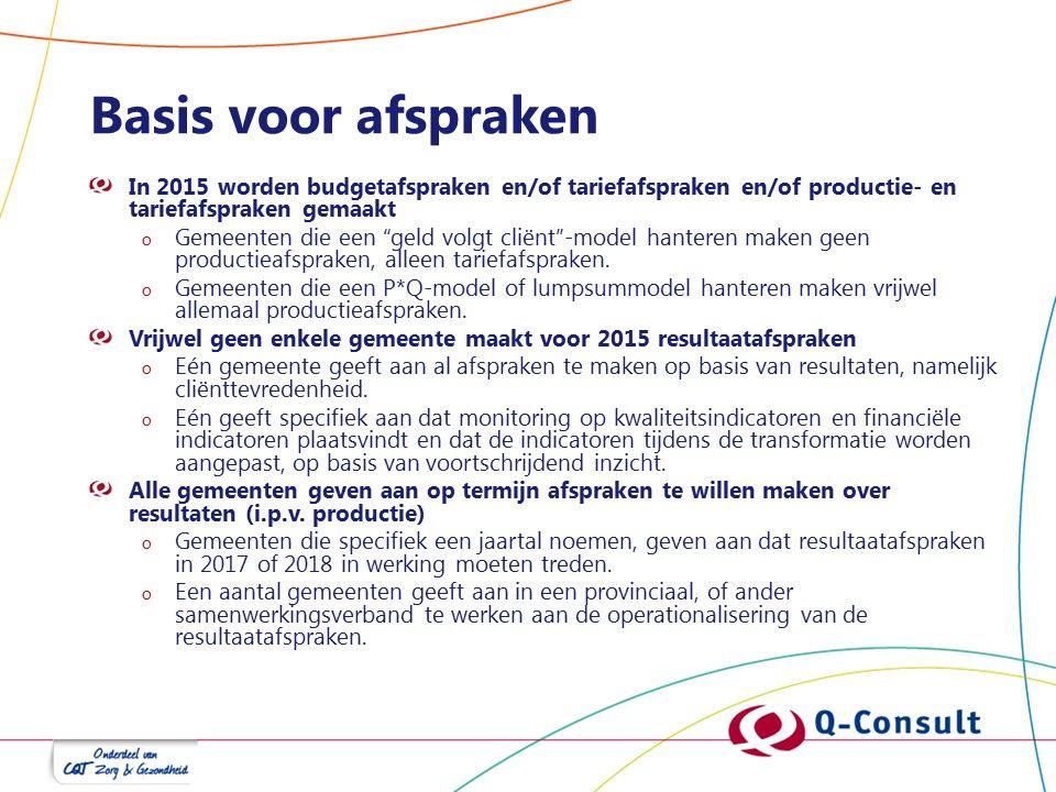 Basis voor afspraken In 2015 worden budgetafspraken en/of tariefafspraken en/of productie- en tariefafspraken gemaakt o Gemeenten die een geld volgt cliënt -model hanteren maken geen productieafspraken, alleen tariefafspraken.