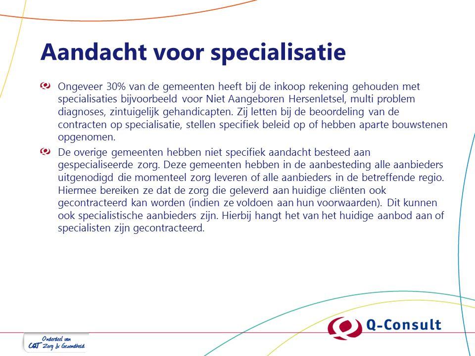 Aandacht voor specialisatie Ongeveer 30% van de gemeenten heeft bij de inkoop rekening gehouden met specialisaties bijvoorbeeld voor Niet Aangeboren Hersenletsel, multi problem diagnoses, zintuigelijk gehandicapten.