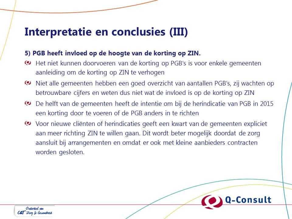 Interpretatie en conclusies (III) 5) PGB heeft invloed op de hoogte van de korting op ZIN. Het niet kunnen doorvoeren van de korting op PGB's is voor