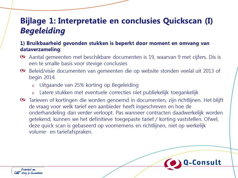 Bijlage 1: Interpretatie en conclusies Quickscan (I) Begeleiding 1) Bruikbaarheid gevonden stukken is beperkt door moment en omvang van dataverzameling: Aantal gemeenten met beschikbare documenten is 19, waarvan 9 met cijfers.