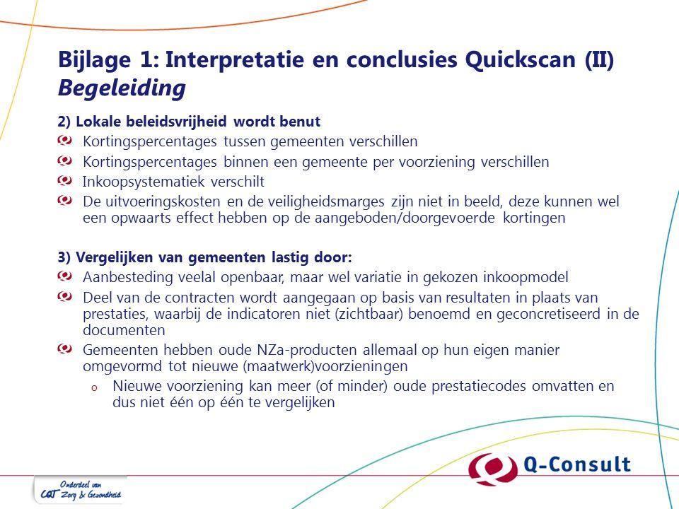 Bijlage 1: Interpretatie en conclusies Quickscan (II) Begeleiding 2) Lokale beleidsvrijheid wordt benut Kortingspercentages tussen gemeenten verschill