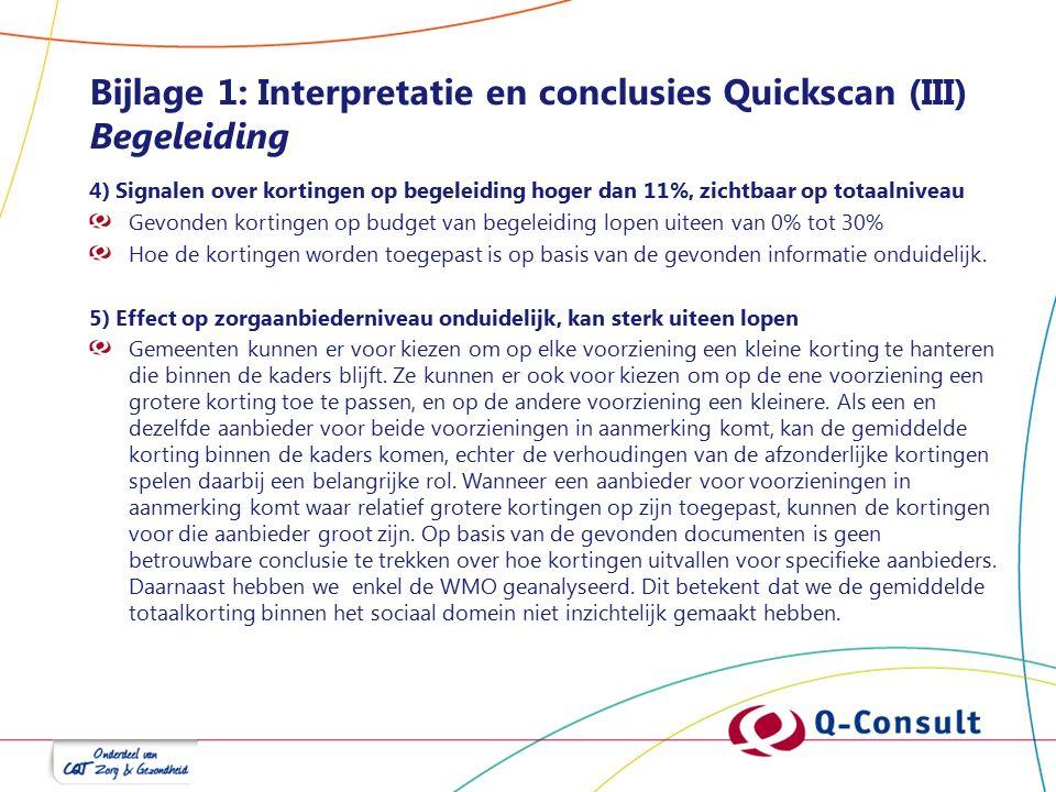 Bijlage 1: Interpretatie en conclusies Quickscan (III) Begeleiding 4) Signalen over kortingen op begeleiding hoger dan 11%, zichtbaar op totaalniveau Gevonden kortingen op budget van begeleiding lopen uiteen van 0% tot 30% Hoe de kortingen worden toegepast is op basis van de gevonden informatie onduidelijk.