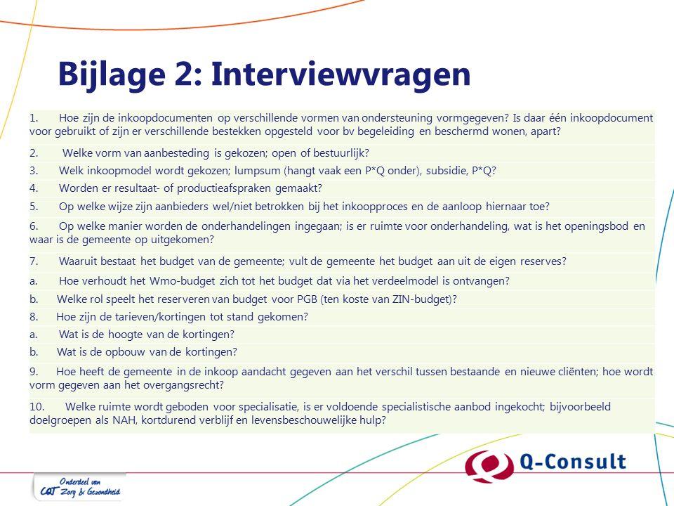 Bijlage 2: Interviewvragen 1. Hoe zijn de inkoopdocumenten op verschillende vormen van ondersteuning vormgegeven? Is daar één inkoopdocument voor gebr