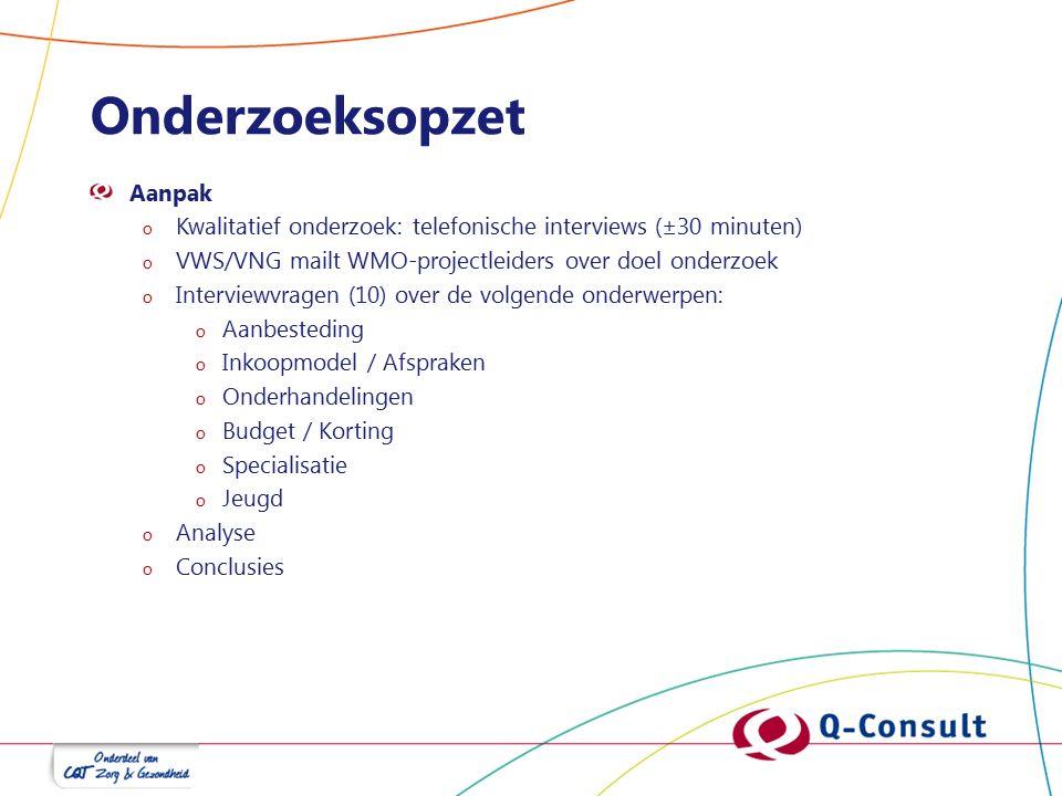 Onderzoeksopzet Aanpak o Kwalitatief onderzoek: telefonische interviews (±30 minuten) o VWS/VNG mailt WMO-projectleiders over doel onderzoek o Intervi