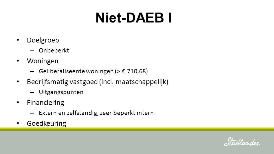 Niet-DAEB I Doelgroep – Onbeperkt Woningen – Geliberaliseerde woningen (> € 710,68) Bedrijfsmatig vastgoed (incl. maatschappelijk) – Uitgangspunten Fi