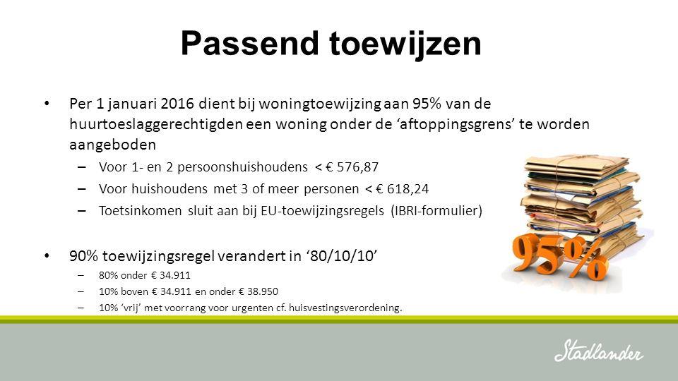 Passend toewijzen Per 1 januari 2016 dient bij woningtoewijzing aan 95% van de huurtoeslaggerechtigden een woning onder de 'aftoppingsgrens' te worden