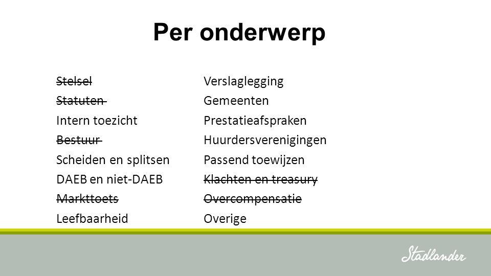 Stadlander: intern toezicht Benoeming 4 jaar, één keer verlengen Stadlander: Herijken reglementen RvC, audit- en remuneratiecommissie, voordracht leden, toezichtskader, profielschets Gereed voor 1-1-2017