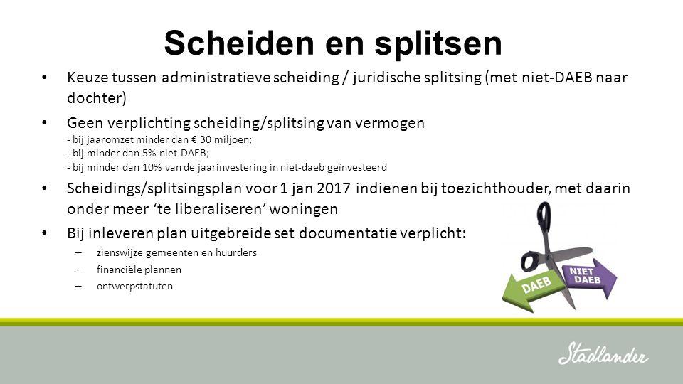 Scheiden en splitsen Keuze tussen administratieve scheiding / juridische splitsing (met niet-DAEB naar dochter) Geen verplichting scheiding/splitsing
