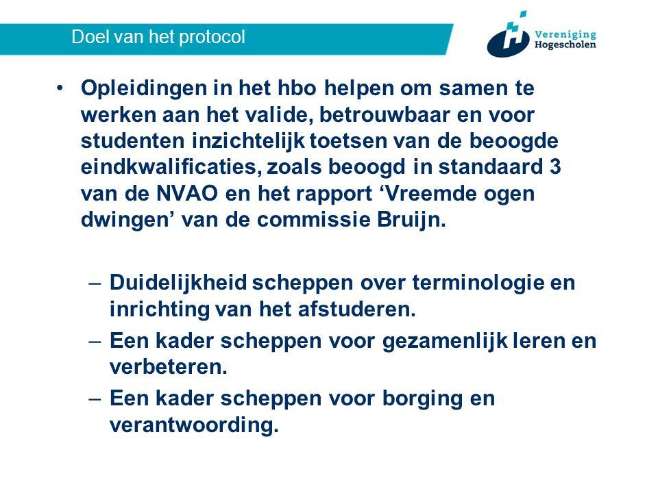 Doel van het protocol Opleidingen in het hbo helpen om samen te werken aan het valide, betrouwbaar en voor studenten inzichtelijk toetsen van de beoogde eindkwalificaties, zoals beoogd in standaard 3 van de NVAO en het rapport 'Vreemde ogen dwingen' van de commissie Bruijn.