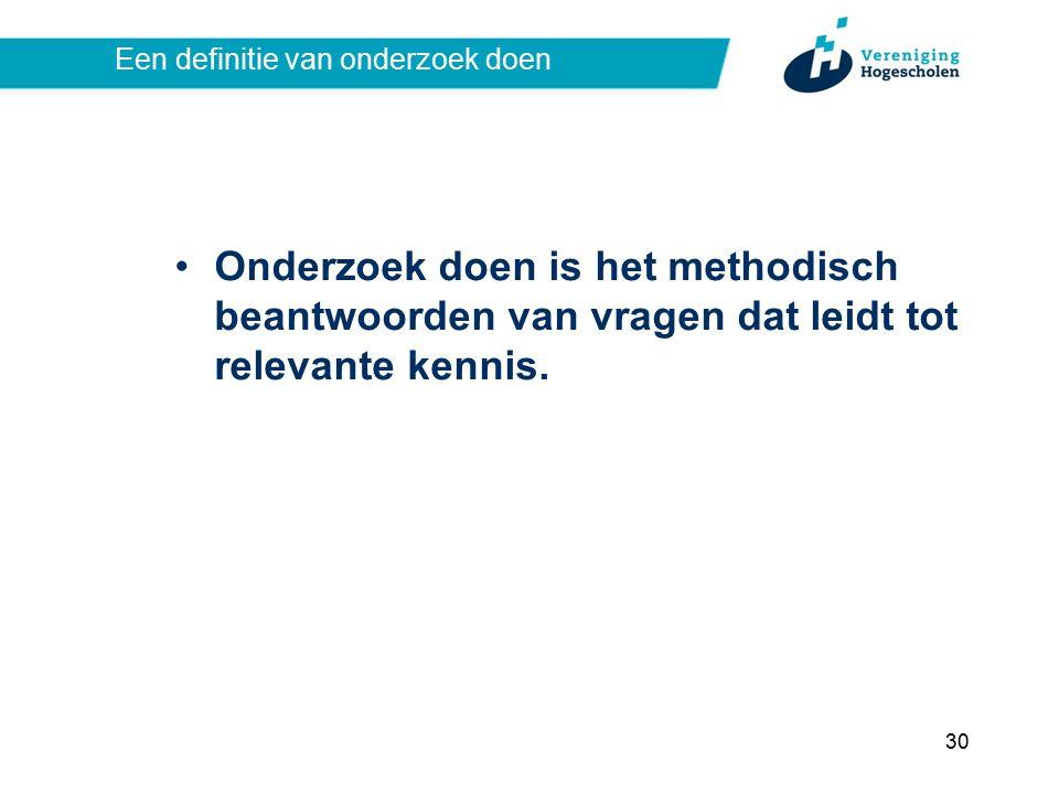 Een definitie van onderzoek doen Onderzoek doen is het methodisch beantwoorden van vragen dat leidt tot relevante kennis.