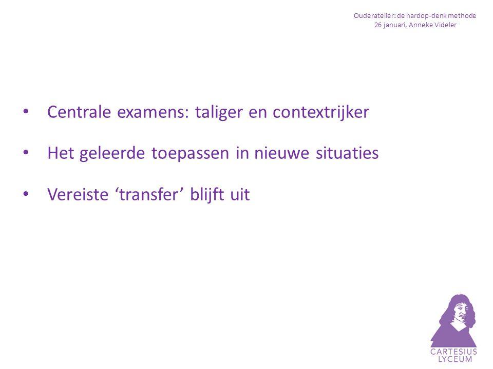 Ouderatelier: de hardop-denk methode 26 januari, Anneke Videler Transfersterke leerlingen beschikken over veel oplossingsstrategieën - je voorkennis activeren - jezelf vragen stellen - aantekeningen maken (onderstrepen, schemaatje maken, etc.)) - informatie in je eigen woorden samenvatten - bepalen wat je onduidelijk vindt - relevante informatie selecteren Eigen palet aan oplossingsstrategieën werkt het beste (dus geen opgelegd stappenplan)