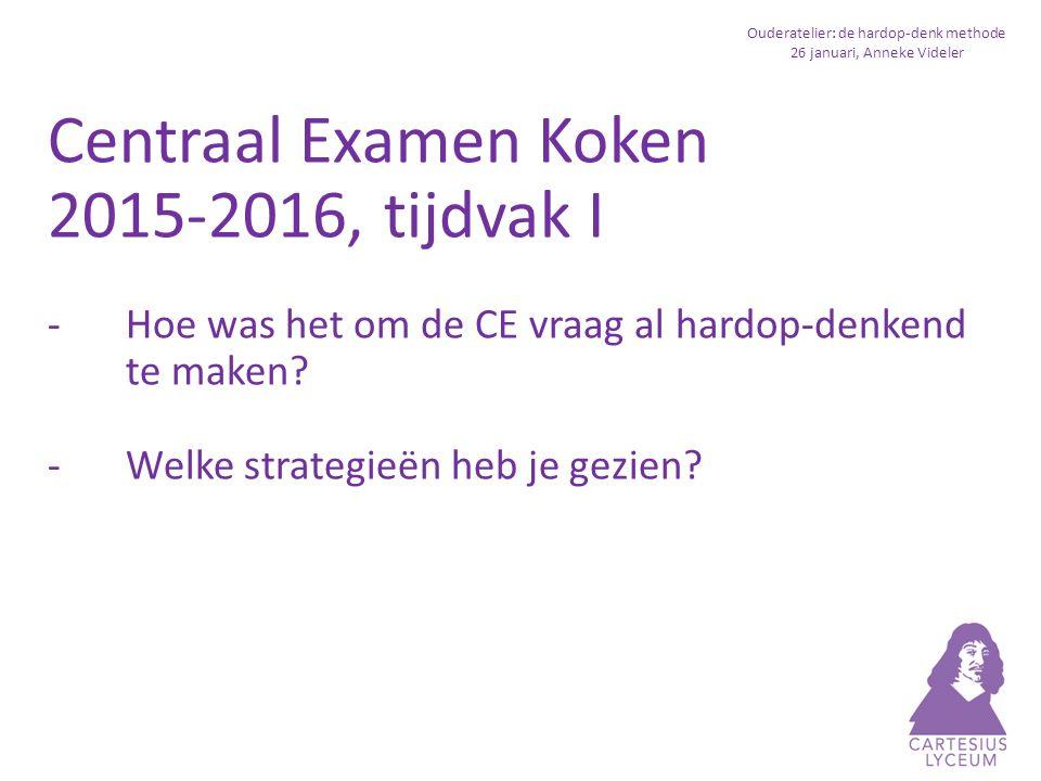 Ouderatelier: de hardop-denk methode 26 januari, Anneke Videler Wat levert het op.