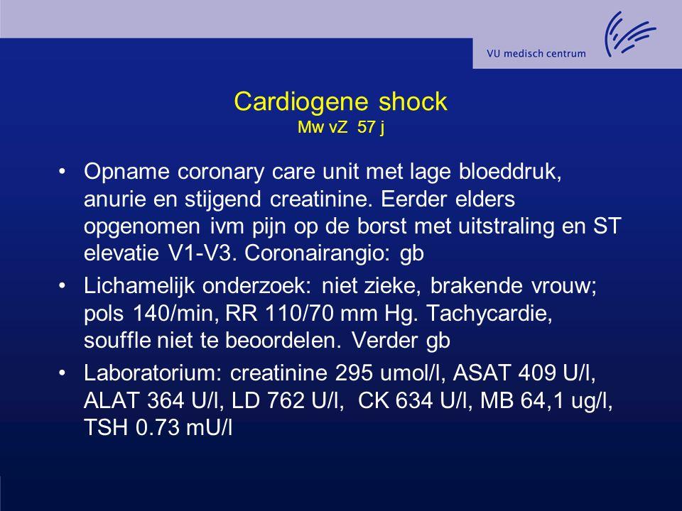 Cardiogene shock Mw vZ 57 j Opname coronary care unit met lage bloeddruk, anurie en stijgend creatinine. Eerder elders opgenomen ivm pijn op de borst