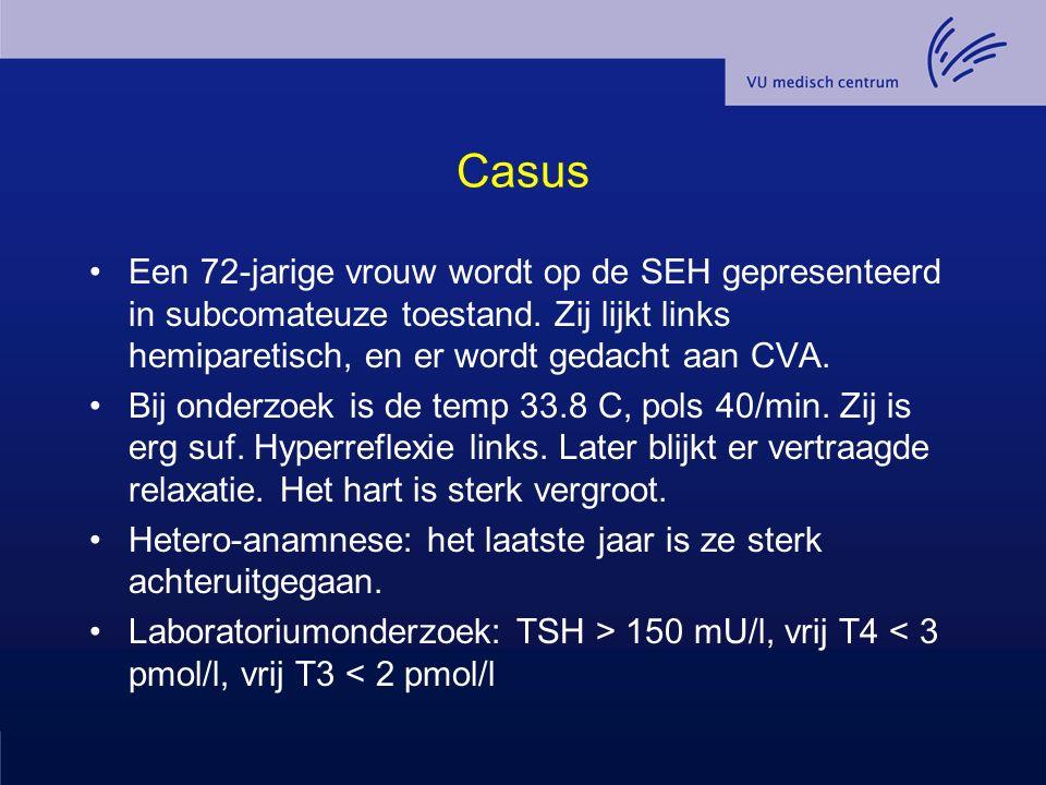 Casus Een 72-jarige vrouw wordt op de SEH gepresenteerd in subcomateuze toestand. Zij lijkt links hemiparetisch, en er wordt gedacht aan CVA. Bij onde
