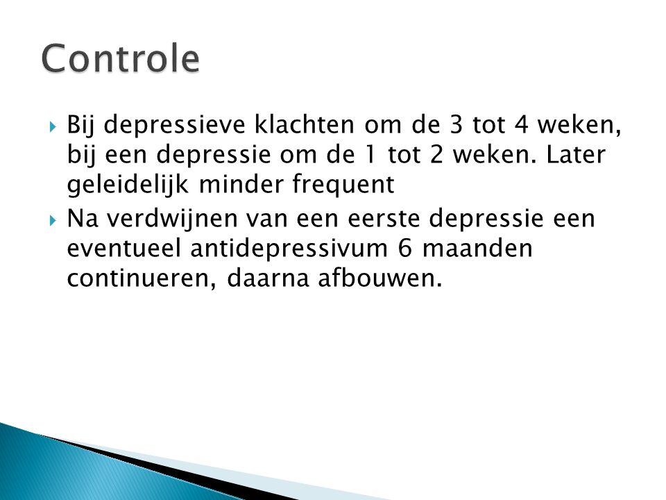  Bij depressieve klachten om de 3 tot 4 weken, bij een depressie om de 1 tot 2 weken.