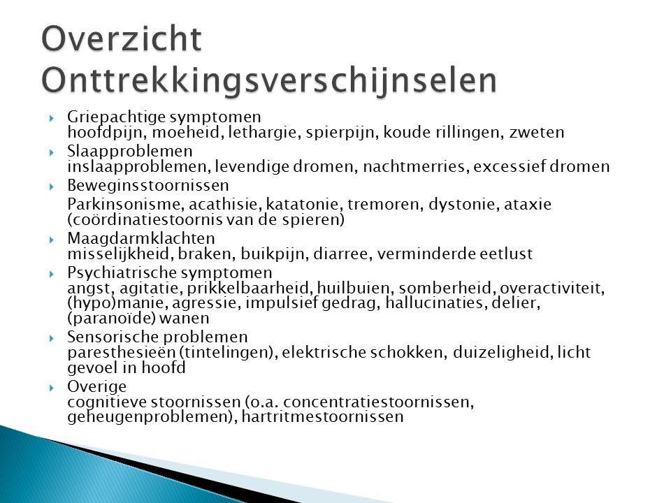  Griepachtige symptomen hoofdpijn, moeheid, lethargie, spierpijn, koude rillingen, zweten  Slaapproblemen inslaapproblemen, levendige dromen, nachtmerries, excessief dromen  Beweginsstoornissen Parkinsonisme, acathisie, katatonie, tremoren, dystonie, ataxie (coördinatiestoornis van de spieren)  Maagdarmklachten misselijkheid, braken, buikpijn, diarree, verminderde eetlust  Psychiatrische symptomen angst, agitatie, prikkelbaarheid, huilbuien, somberheid, overactiviteit, (hypo)manie, agressie, impulsief gedrag, hallucinaties, delier, (paranoïde) wanen  Sensorische problemen paresthesieën (tintelingen), elektrische schokken, duizeligheid, licht gevoel in hoofd  Overige cognitieve stoornissen (o.a.