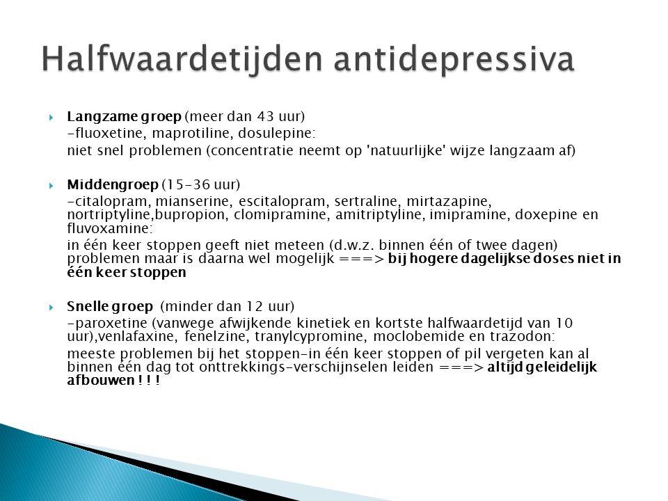  Langzame groep (meer dan 43 uur) -fluoxetine, maprotiline, dosulepine: niet snel problemen (concentratie neemt op natuurlijke wijze langzaam af)  Middengroep (15-36 uur) -citalopram, mianserine, escitalopram, sertraline, mirtazapine, nortriptyline,bupropion, clomipramine, amitriptyline, imipramine, doxepine en fluvoxamine: in één keer stoppen geeft niet meteen (d.w.z.