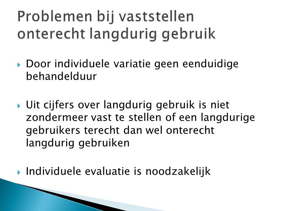  Door individuele variatie geen eenduidige behandelduur  Uit cijfers over langdurig gebruik is niet zondermeer vast te stellen of een langdurige gebruikers terecht dan wel onterecht langdurig gebruiken  Individuele evaluatie is noodzakelijk