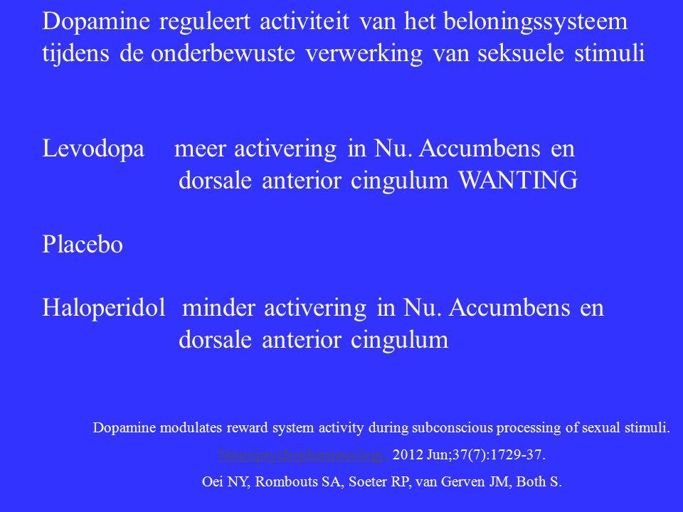 Dopamine reguleert activiteit van het beloningssysteem tijdens de onderbewuste verwerking van seksuele stimuli Levodopa meer activering in Nu.