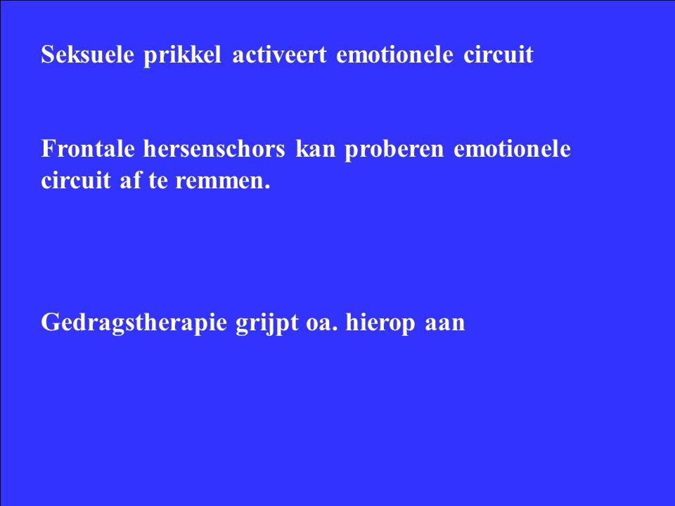 Seksuele prikkel activeert emotionele circuit Frontale hersenschors kan proberen emotionele circuit af te remmen.