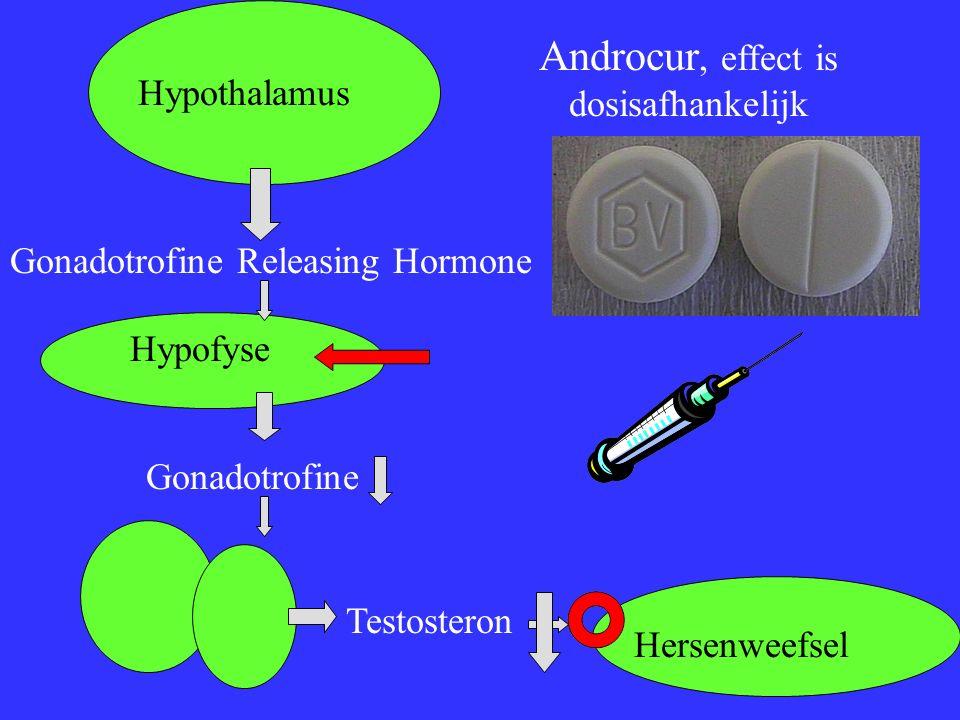 Hypothalamus Gonadotrofine Releasing Hormone Hypofyse Gonadotrofine Testosteron Hersenweefsel Androcur, effect is dosisafhankelijk