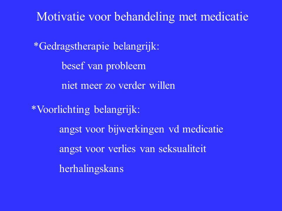 Motivatie voor behandeling met medicatie *Gedragstherapie belangrijk: besef van probleem niet meer zo verder willen *Voorlichting belangrijk: angst voor bijwerkingen vd medicatie angst voor verlies van seksualiteit herhalingskans