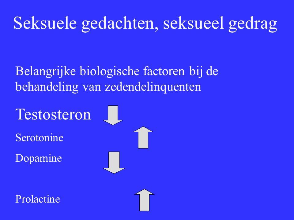 Seksuele gedachten, seksueel gedrag Belangrijke biologische factoren bij de behandeling van zedendelinquenten Testosteron Serotonine Dopamine Prolactine