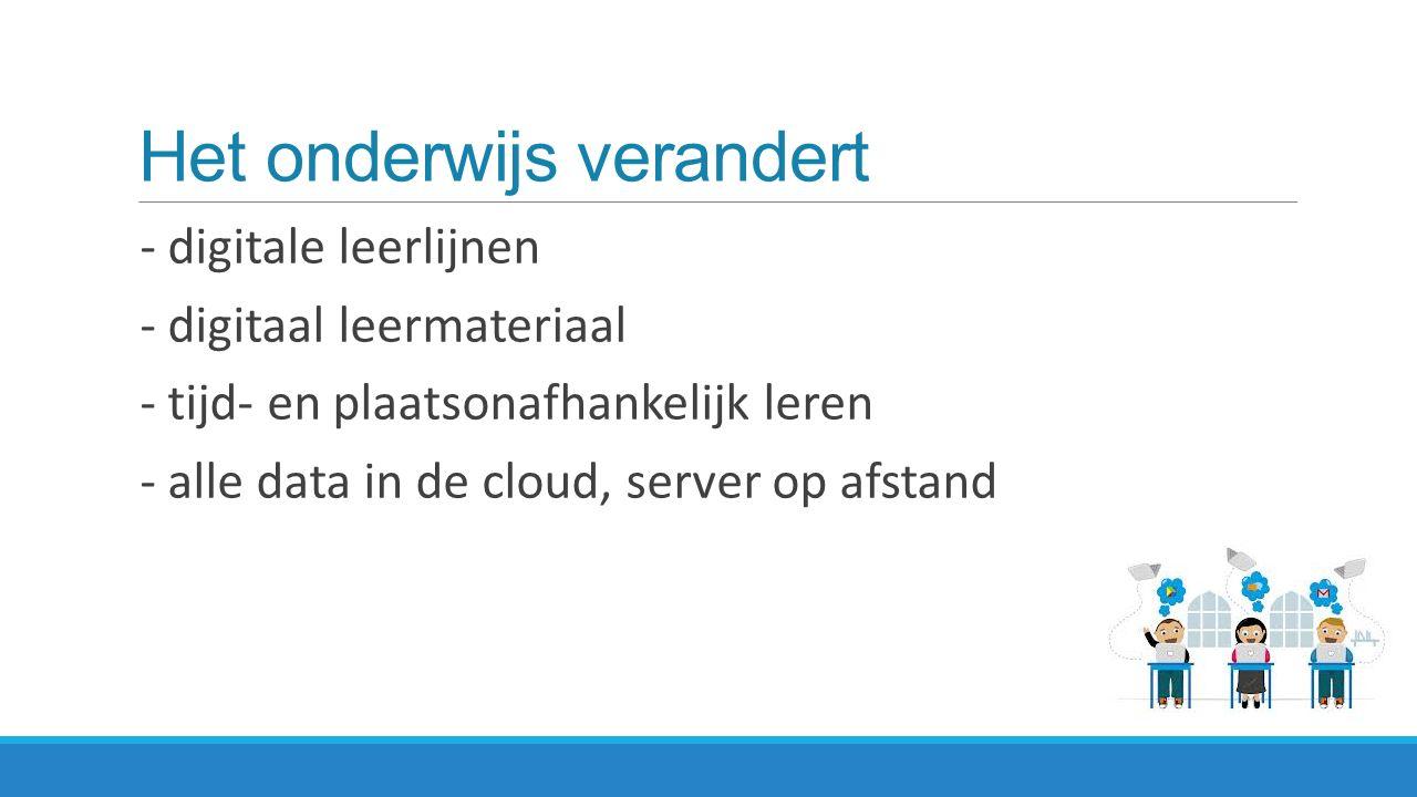 Het onderwijs verandert - digitale leerlijnen - digitaal leermateriaal - tijd- en plaatsonafhankelijk leren - alle data in de cloud, server op afstand
